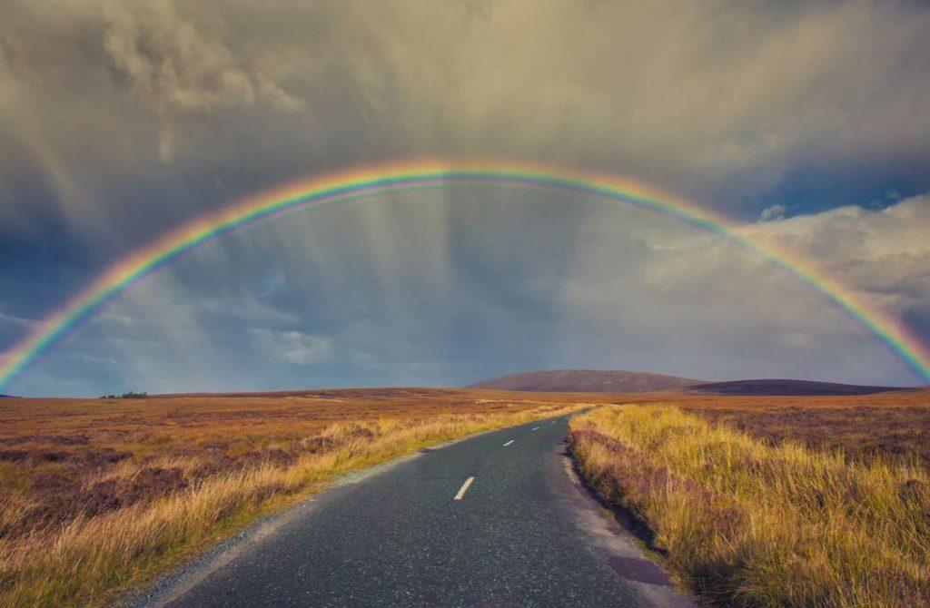А так выглядит национальный парк Уиклоу, когда над ним появляется полная радуга.